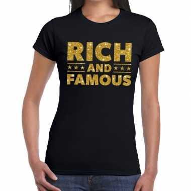 Zwart rich and famous goud fun t-shirt voor dames