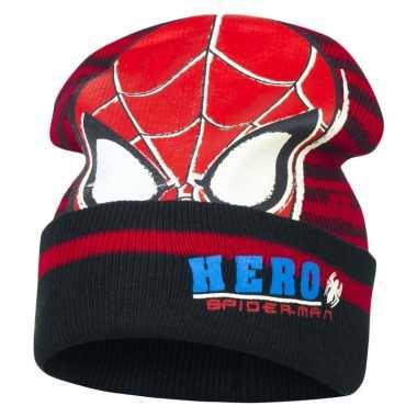 Zwart/rode spiderman wintermuts voor jongens