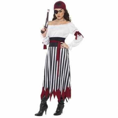 Zwart/wit/rood piraten verkleedkleding voor dames