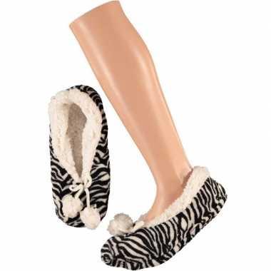 Zwart/witte ballerina dames pantoffels/sloffen met zebraprint maat 37