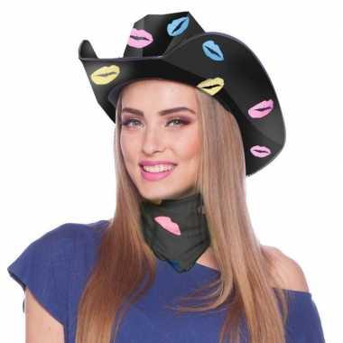 Zwarte cowboyhoed karton met lippen/kusjes voor dames