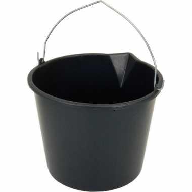 Zwarte emmer met schenktuit 12 liter