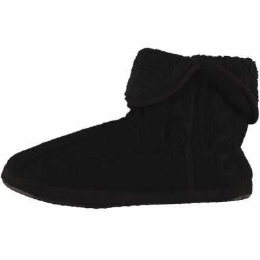 Zwarte hoge heren pantoffels/sloffen gebreid