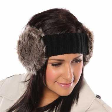 Zwarte hoofdband met grijze oorwarmers van bont