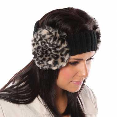 Zwarte hoofdband met oorwarmers met luipaardprint