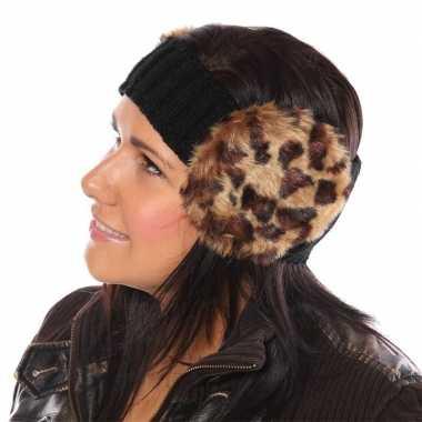 Zwarte hoofdband met oorwarmers met panterprint