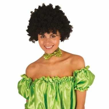 Zwarte krullen clownspruik verkleed accessoire