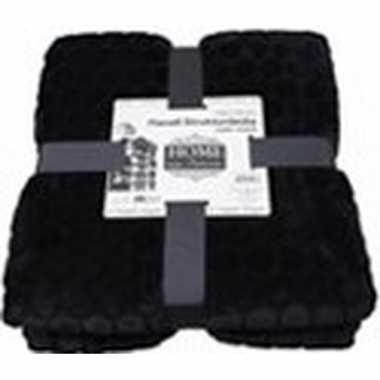 Zwarte nepbont/pluche grote deken/plaid 150 x 200 cm