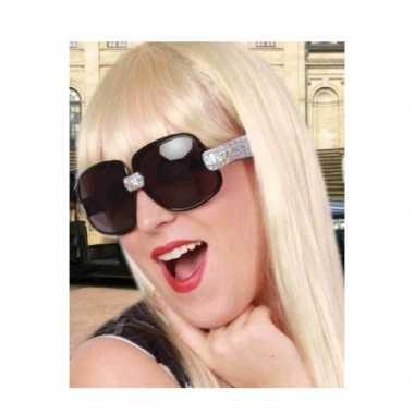Zwarte partybril met zilveren glitters voor dames