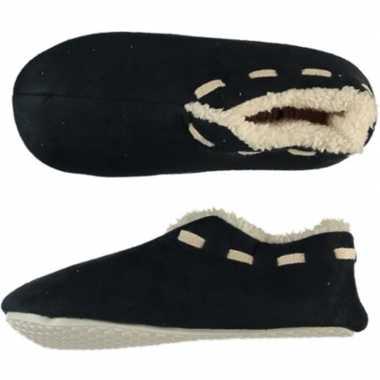 Zwarte spaanse sloffen/pantoffels stippen voor jongens maat 35-36