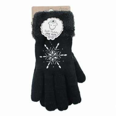 Zwarte winterhandschoenen ster diamant voor dames