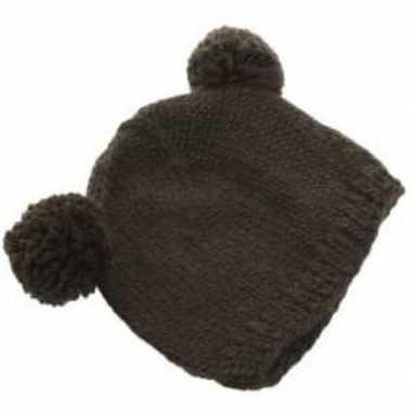 Zwarte wintermuts met bolletjes voor volwassenen