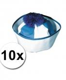 10 blauwe matrozen hoedjes icm zeeman tattoos