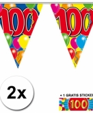 100 jaar vlaggenlijnen 2x met gratis sticker