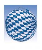 10x blauw wit geblokte oktoberfest lampionnen 25 cm
