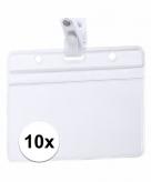 10x naamkaartjes badge houder met clipje 11 5 x 9 2 cm