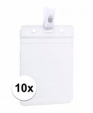 10x naamkaartjes badge houder met clipje 8 5 x 12 2 cm