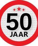 10x stuks ronde 50 jaar feestartikelen stickers van 9 cm