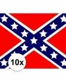 10x stuks stickertjes van vlag van usa rebel