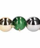 12 delige kerstballen set goud zilver groen