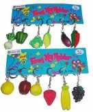 12x sleutelhangers met groente of fruit
