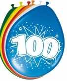 16x stuks leeftijd ballonnen versiering 100 jaar 30 cm