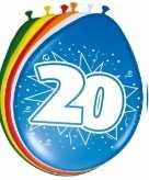 16x stuks leeftijd ballonnen versiering 20 jaar 30 cm