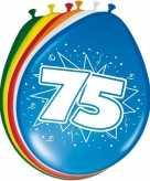16x stuks leeftijd ballonnen versiering 75 jaar 30 cm