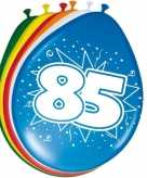 16x stuks leeftijd ballonnen versiering 85 jaar 30 cm