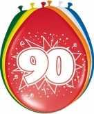 16x stuks leeftijd ballonnen versiering 90 jaar 30 cm