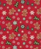 20x kerst servetten rood 33 cm peperkoek gingerbread kerstboom print