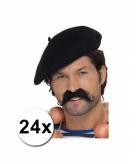 24 zwarte baretten