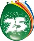 24x stuks leeftijd ballonnen versiering 25 jaar 30 cm