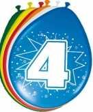24x stuks leeftijd ballonnen versiering 4 jaar