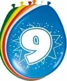 24x stuks leeftijd ballonnen versiering 9 jaar