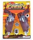 2x verkleed sheriff cowboy wapen zilver met holster 22 cm