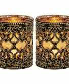 2x waxinelichthouders goud zwart antiek 10 cm
