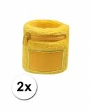 2x zweetbanden met rits geel