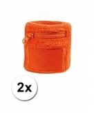 2x zweetbanden met rits oranje