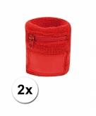 2x zweetbanden met rits rood