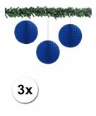 3 blauwe papieren kerstballen 10 cm