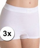 3 double comfort dames shorts white