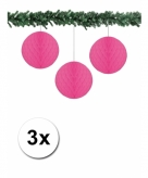 3 fuchsia roze papieren kerstballen 10 cm