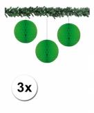 3 groene papieren kerstballen 10 cm