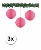 3 lichtroze papieren kerstballen 10 cm