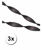 3 zwarte crepe papier slingers 5 m