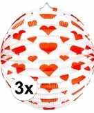 3x papieren ronde lampionnen met harten print