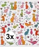 3x velletjes katten stickers