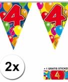 4 jaar vlaggenlijnen 2x met gratis sticker