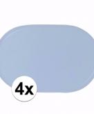 4x effen kleur placemats lichtblauw
